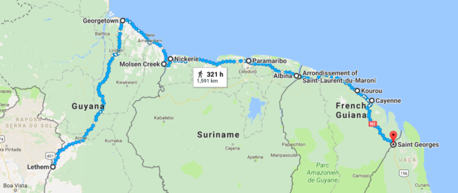 Crossing the Guianas overland step-by-step