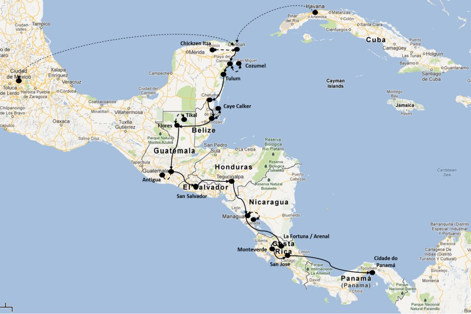 One month Central America Itinerary Franz Explorer